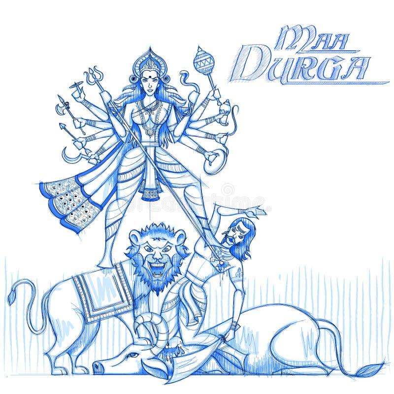 Ινδική θεά Durga στο περιγραμματικό βλέμμα διανυσματική απεικόνιση