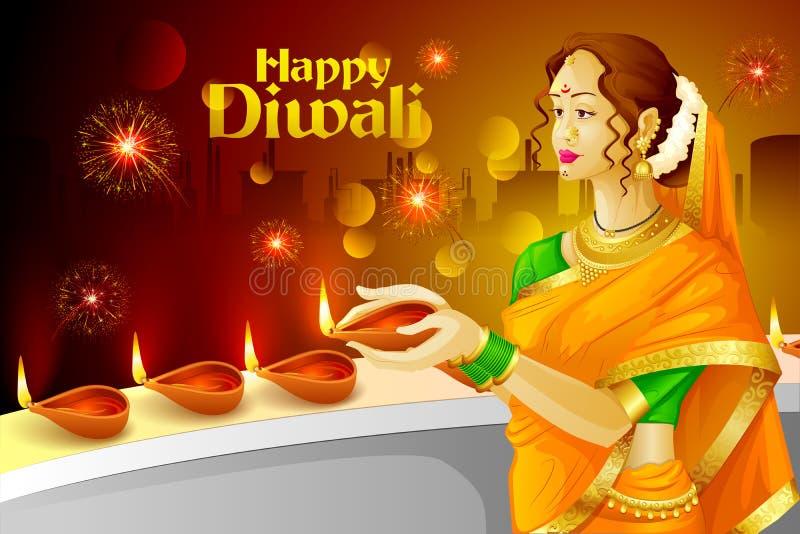 Ινδική κυρία με το diya Diwali απεικόνιση αποθεμάτων