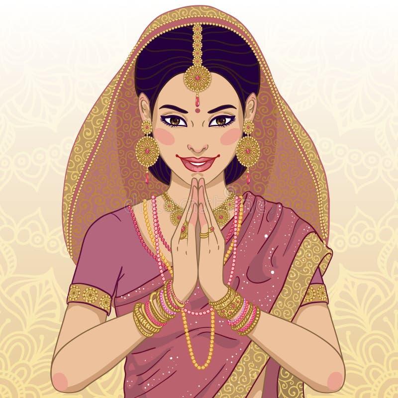 Ινδική νέα γυναίκα διανυσματική απεικόνιση