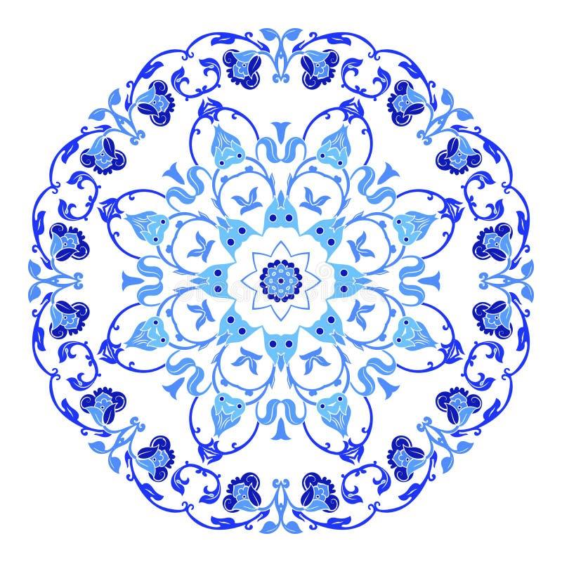 Ινδική στρογγυλή διακόσμηση, kaleidoscopic floral σχέδιο, mandala Σχέδιο που γίνεται στο ρωσικά ύφος και τα χρώματα gzhel απεικόνιση αποθεμάτων