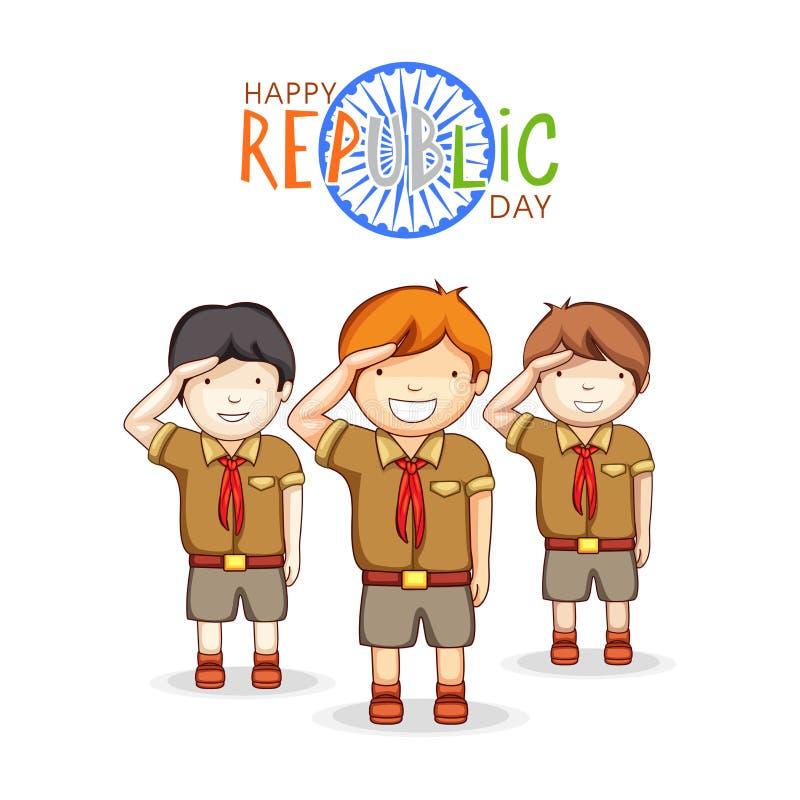 Ινδικός εορτασμός ημέρας Δημοκρατίας με τα χαριτωμένα παιδιά απεικόνιση αποθεμάτων