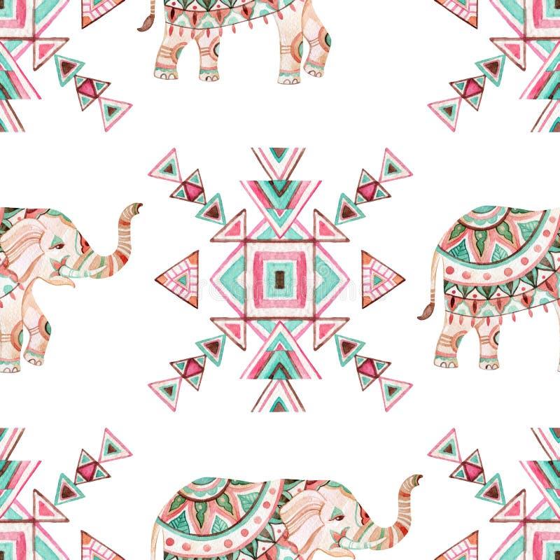 Ινδικό άνευ ραφής σχέδιο watercolor ελεφάντων απεικόνιση αποθεμάτων