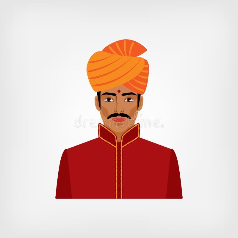 Ινδικό άτομο στα παραδοσιακά ενδύματα απεικόνιση αποθεμάτων