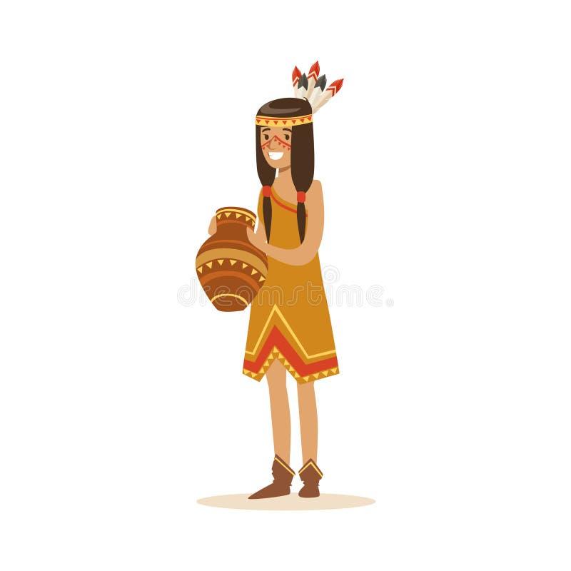 Ινδικό κορίτσι αμερικανών ιθαγενών στην παραδοσιακή ινδική διανυσματική απεικόνιση κανατών αργίλου εκμετάλλευσης φορεμάτων διανυσματική απεικόνιση