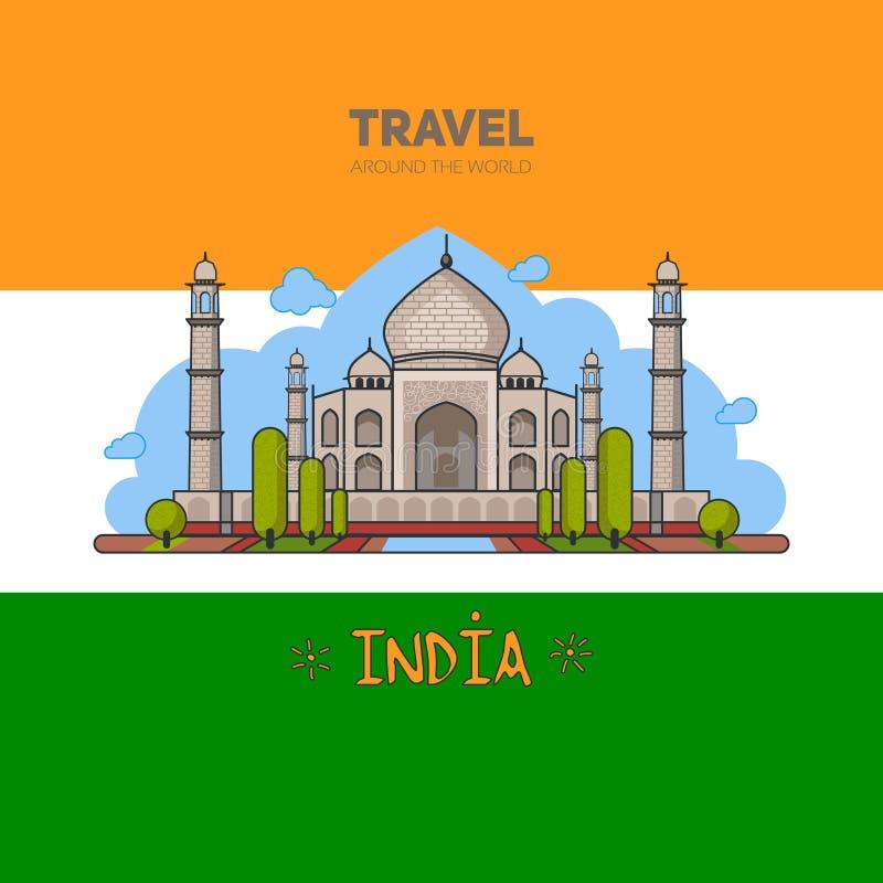 Ινδικό παλάτι στο υπόβαθρο της σημαίας ελεύθερη απεικόνιση δικαιώματος