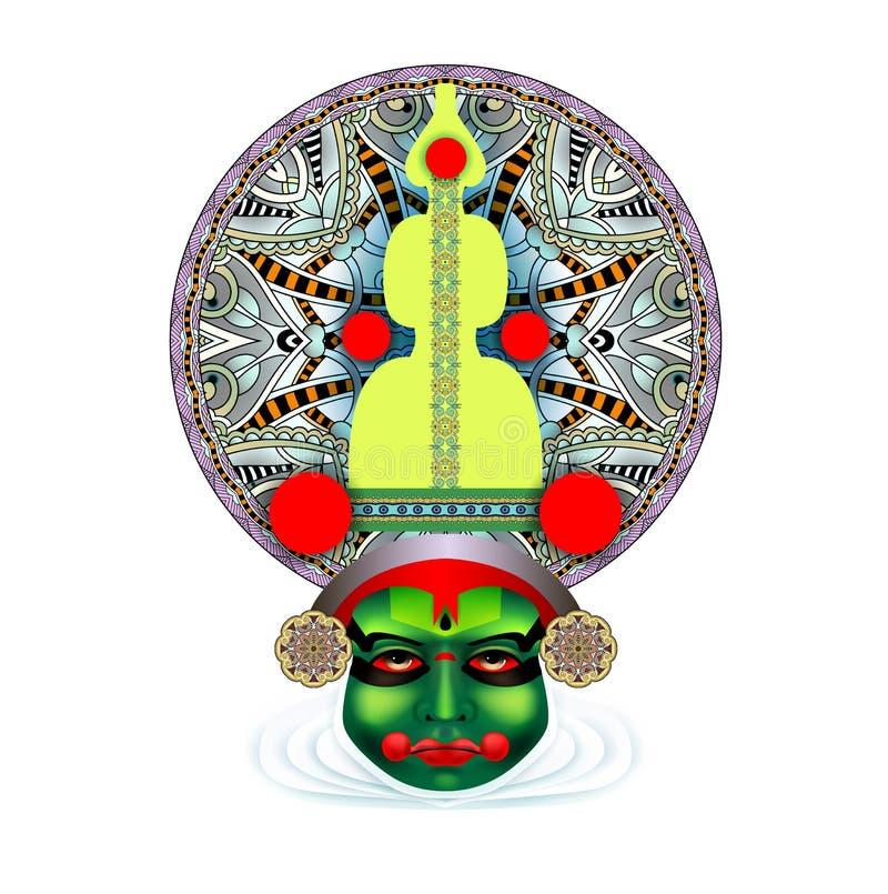 Ινδικό πρόσωπο χορευτών kathakali απεικόνιση αποθεμάτων
