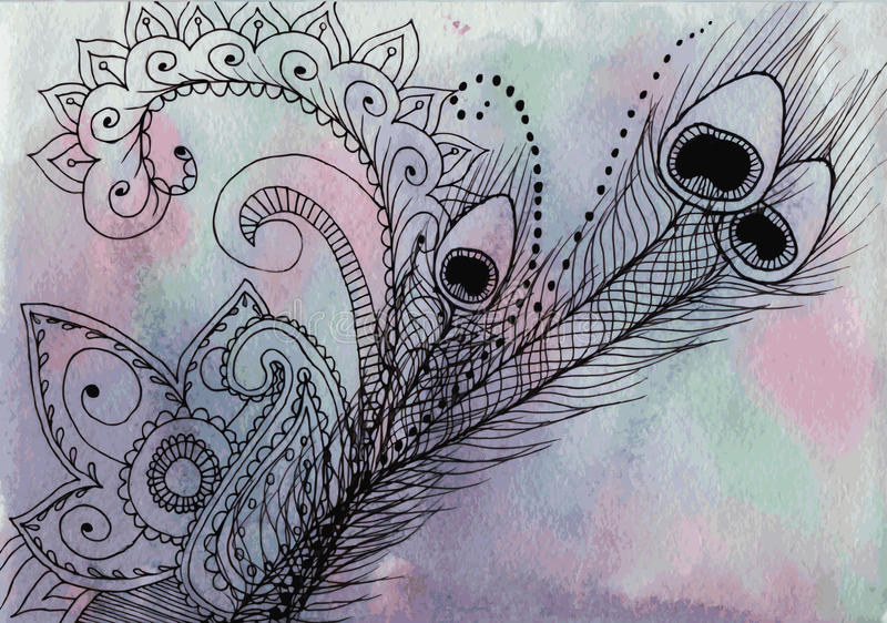 Ινδικό σχέδιο - φτερό Peacock και χρωματισμένο mandalas σκάφος της γραμμής για διανυσματική απεικόνιση