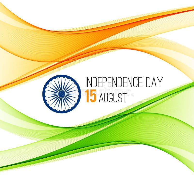 Ινδικό υπόβαθρο έννοιας ημέρας της ανεξαρτησίας με τη ρόδα Ashoka επίσης corel σύρετε το διάνυσμα απεικόνισης ελεύθερη απεικόνιση δικαιώματος