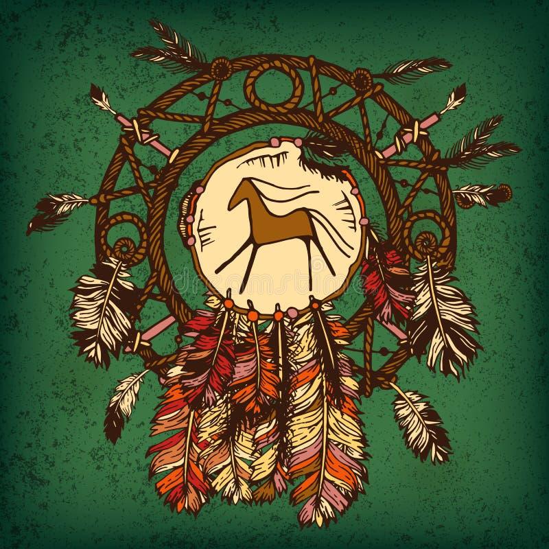 Ινδικό catcher ονείρου αμερικανών ιθαγενών διανυσματική απεικόνιση