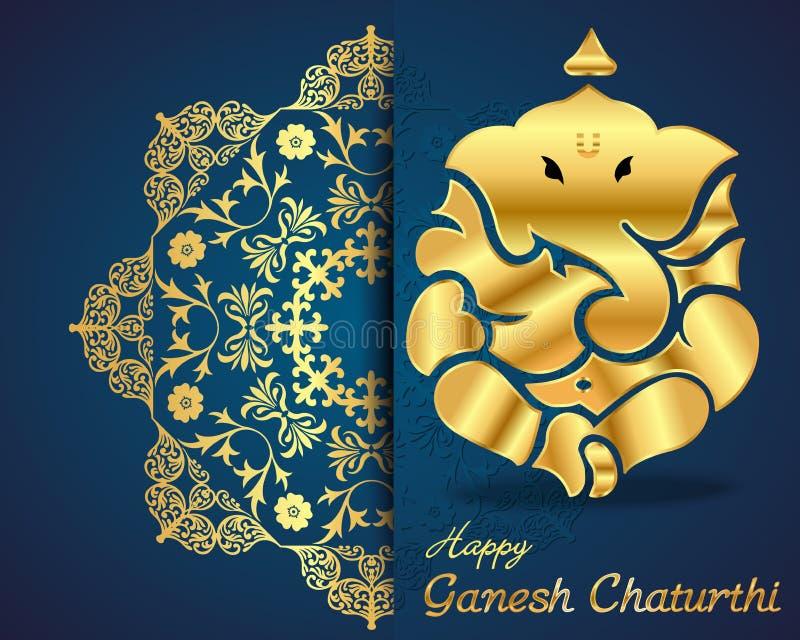 Ινδικό ganesha Θεών, ευτυχής κάρτα chaturthi ganesh διανυσματική απεικόνιση