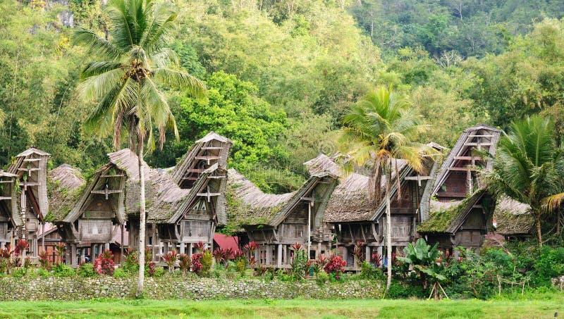 Ινδονησία, Sulawesi, Tana Toraja, παραδοσιακό χωριό στοκ εικόνα