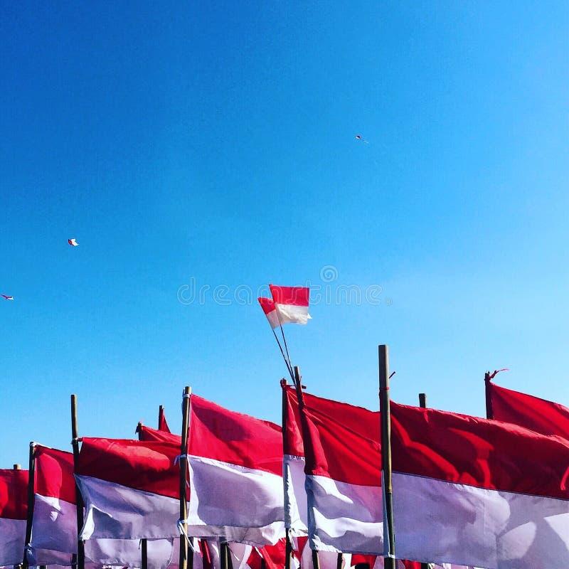 Ινδονησιακές σημαίες στοκ φωτογραφία