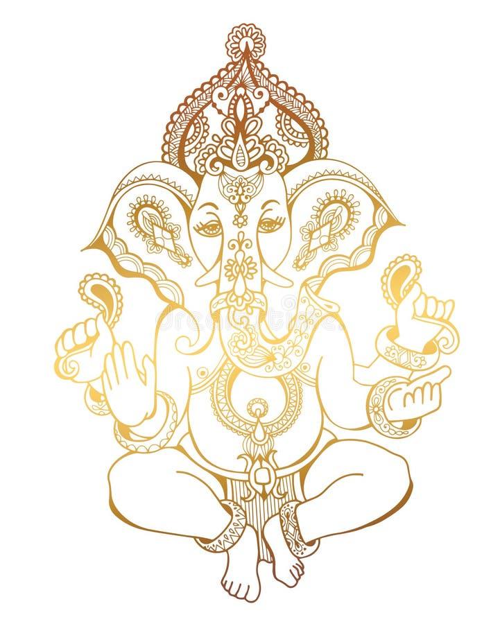 Ινδό Λόρδου σχέδιο σκίτσων ganesha περίκομψο, δερματοστιξία, γιόγκα, spiritua απεικόνιση αποθεμάτων