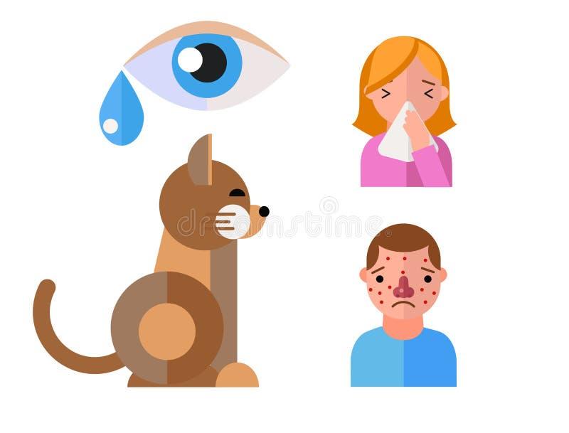 Ιοί γατών υγειονομικής περίθαλψης ζωικών ασθενειών συμβόλων αλλεργίας και επίπεδοι άνθρωποι ετικετών υγείας με τα συμπτώματα αλλε διανυσματική απεικόνιση