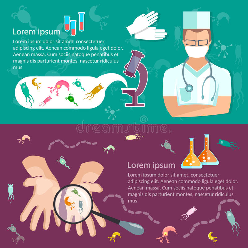 Ιοί υγιεινής εμβλημάτων ιατρικής έρευνας κάτω από το μικροσκόπιο απεικόνιση αποθεμάτων