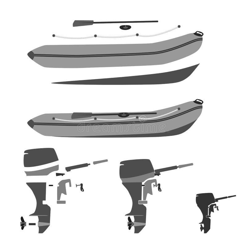 διογκώσιμες βάρκα και μηχανή για την αλιεία, το κυνήγι και την αναψυχή διανυσματική απεικόνιση