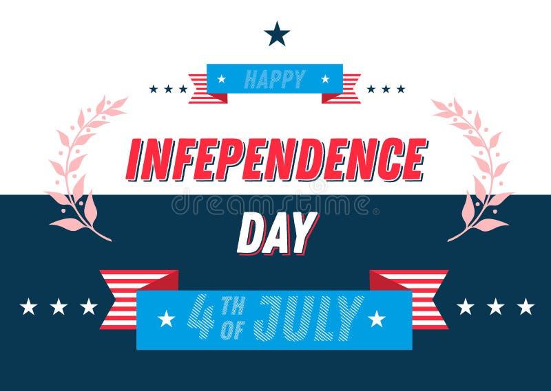 4 Ιουλίου έμβλημα ημέρας της ανεξαρτησίας τυπογραφική σύνθεση εγγραφής 4ου του σχεδίου Ιουλίου με τις ταινίες Για τις ευχετήριες  διανυσματική απεικόνιση
