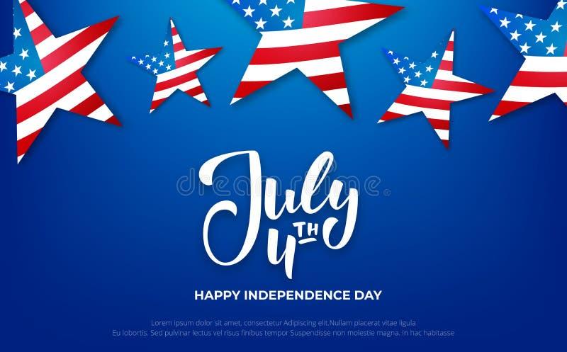 4 Ιουλίου έμβλημα Υπόβαθρο ΑΜΕΡΙΚΑΝΙΚΗΣ ημέρας της ανεξαρτησίας με την εγγραφή για την πώληση, έκπτωση, διαφήμιση, προώθηση διανυσματική απεικόνιση