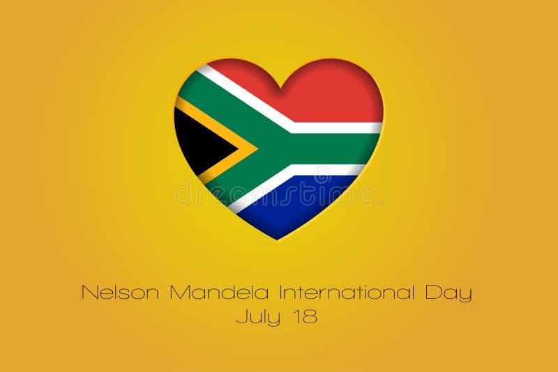 18 Ιουλίου, διεθνής ημέρα του Νέλσον Μαντέλα Απομονωμένη διάνυσμα απεικόνιση με την καρδιά και τη σημαία διανυσματική απεικόνιση