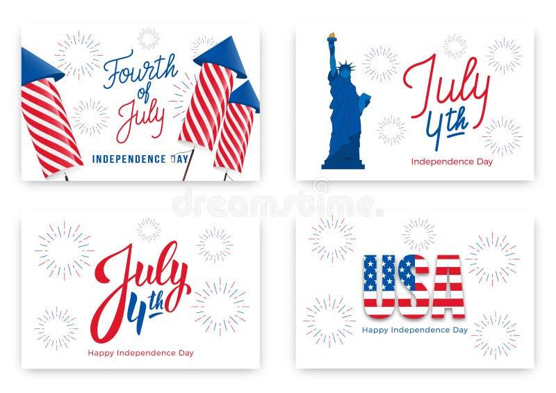 4 Ιουλίου Εμβλήματα διακοπών για την ΑΜΕΡΙΚΑΝΙΚΗ ημέρα της ανεξαρτησίας Σύνολο σύγχρονων καρτών, προσκλήσεις, εμβλήματα Ιστού για ελεύθερη απεικόνιση δικαιώματος