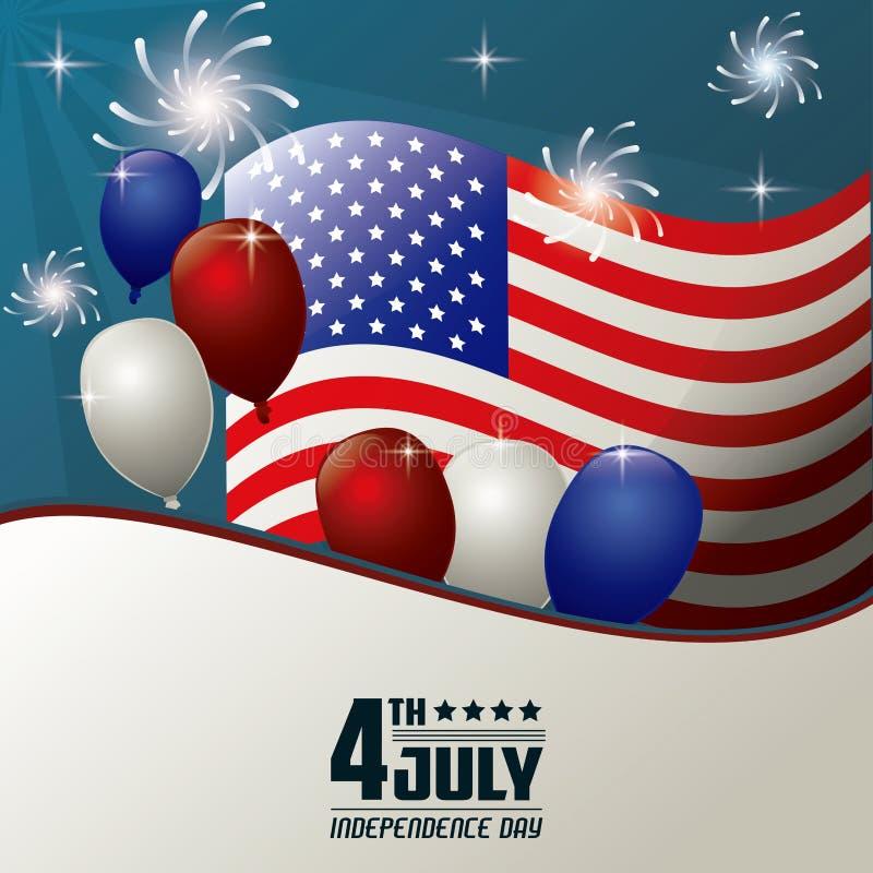 4 Ιουλίου εορτασμός πυροτεχνημάτων μπαλονιών σημαιών ημέρας της ανεξαρτησίας διανυσματική απεικόνιση