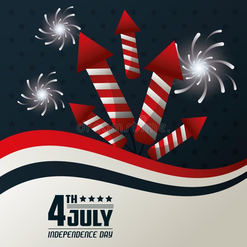 4 Ιουλίου ημέρας της ανεξαρτησίας εθνικό σχέδιο εορτασμού πυροτεχνημάτων εορταστικό απεικόνιση αποθεμάτων