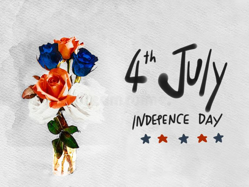 4 Ιουλίου η γραφή ημέρας της ανεξαρτησίας και κόκκινοι μπλε και άσπρος αυξήθηκαν απεικόνιση ζωγραφικής watercolor βάζων διανυσματική απεικόνιση