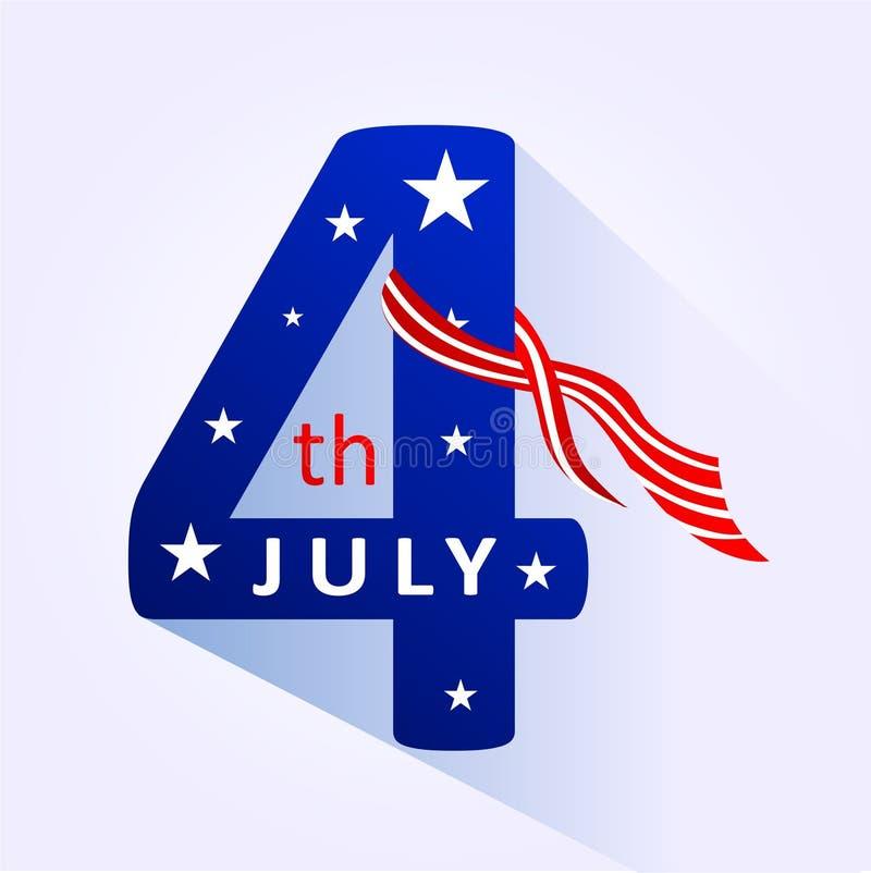 4 Ιουλίου λογότυπο συμβόλων για την αμερικανική ημέρα της ανεξαρτησίας με τη μορφή κορδελλών και αστεριών σημαιών απεικόνιση αποθεμάτων