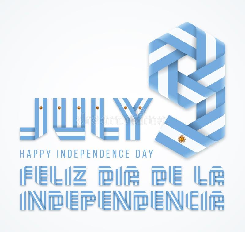 9 Ιουλίου, συγχαρητήριο σχέδιο ημέρας της ανεξαρτησίας της Αργεντινής με τα αργεντινά στοιχεία σημαιών r διανυσματική απεικόνιση