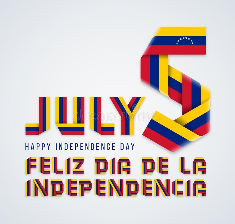 5 Ιουλίου, συγχαρητήριο σχέδιο ημέρας της ανεξαρτησίας της Βενεζουέλας με τα της Βενεζουέλας στοιχεία σημαιών r διανυσματική απεικόνιση