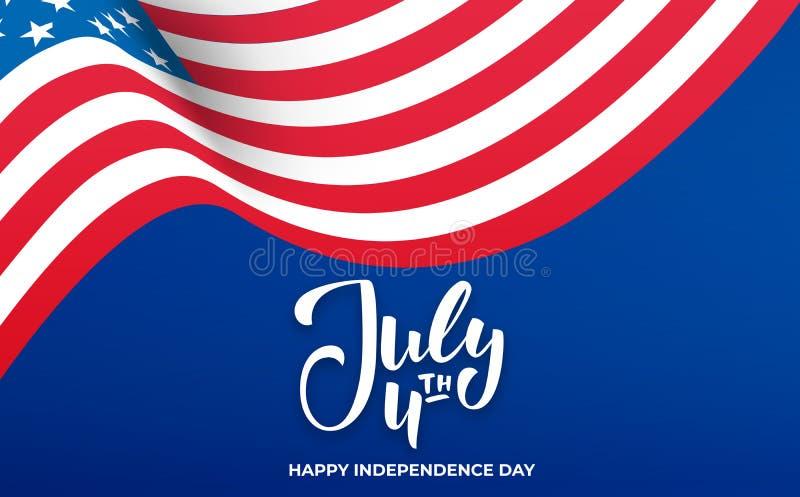 4 Ιουλίου υπόβαθρο Έμβλημα ΑΜΕΡΙΚΑΝΙΚΗΣ ημέρας της ανεξαρτησίας με την εγγραφή για την πώληση, έκπτωση, διαφήμιση, προώθηση ελεύθερη απεικόνιση δικαιώματος