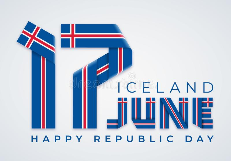 17 Ιουνίου, ημέρα Δημοκρατίας του συγχαρητήριου σχεδίου της Ισλανδίας με τα ισλανδικά στοιχεία σημαιών r διανυσματική απεικόνιση