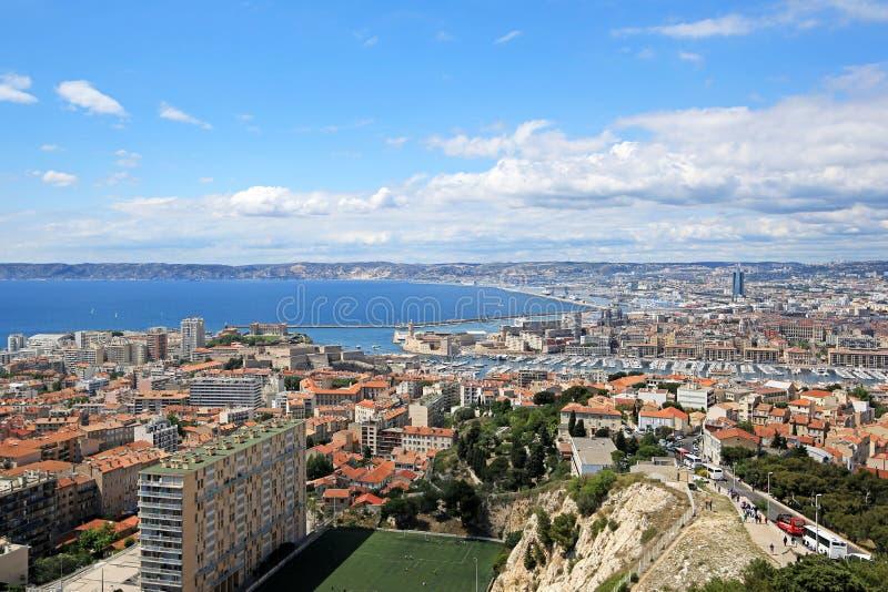 3 Ιουνίου 2016 - Μασσαλία, Γαλλία: Εναέρια άποψη της πόλης της Μασσαλίας στοκ φωτογραφία με δικαίωμα ελεύθερης χρήσης