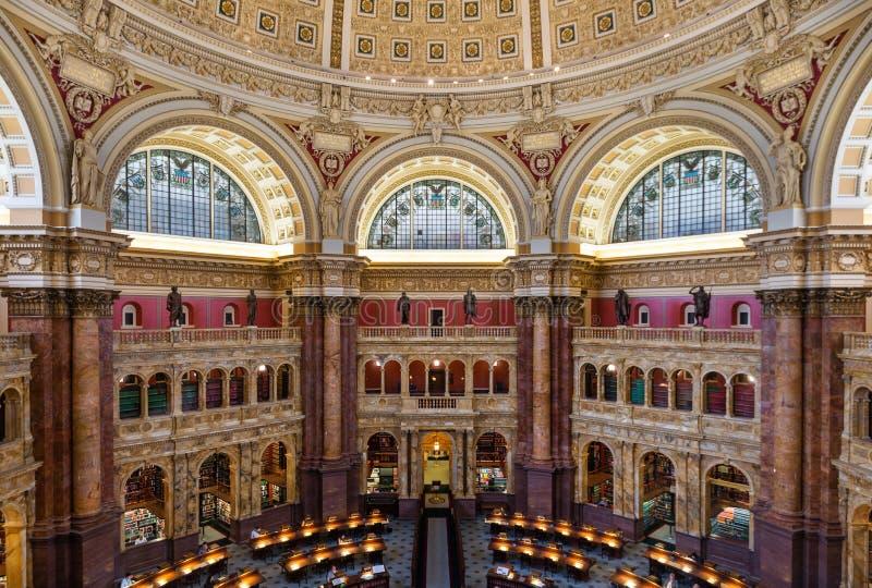 1 Ιουνίου 2018 - Washington DC, Ηνωμένες Πολιτείες: Κύριο δωμάτιο ανάγνωσης στη βιβλιοθήκη του Κογκρέσου στοκ φωτογραφία