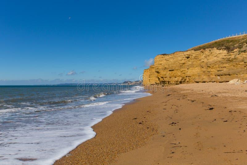 Ιουρασική ακτή του Dorset Αγγλία UK παραλιών Bradstock Burton με τους απότομους βράχους ψαμμίτη και τα άσπρα κύματα το καλοκαίρι  στοκ εικόνα με δικαίωμα ελεύθερης χρήσης