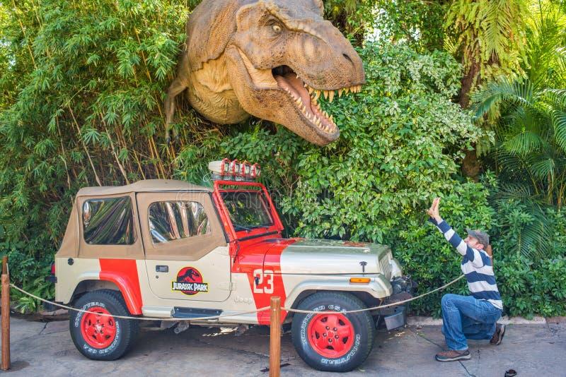 Ιουρασικό πάρκο στα νησιά UNIVERSAL STUDIO της περιπέτειας στοκ εικόνες
