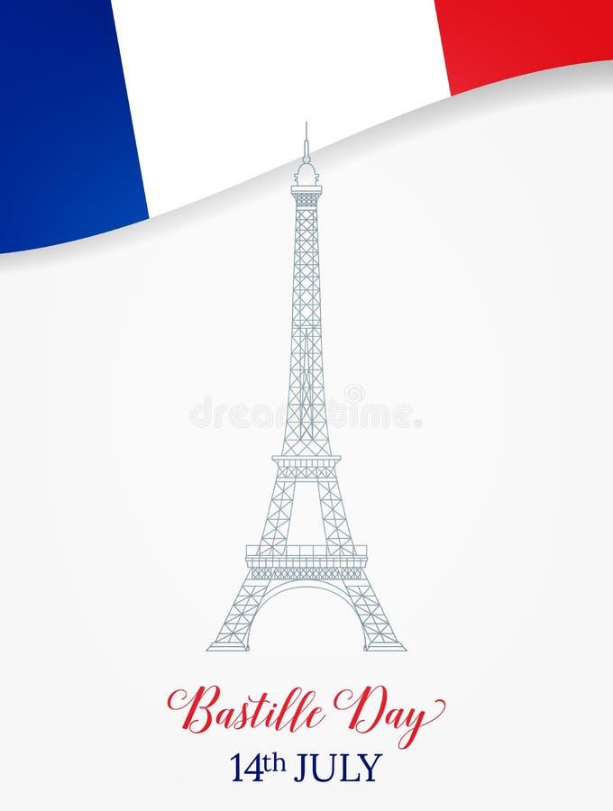 14 Ιουλίου σημαίες πυροτεχνημάτων ημέρας ανασκόπησης bastille εορταστικές Γαλλικοί πύργος και σημαία του Άιφελ διανυσματική απεικόνιση