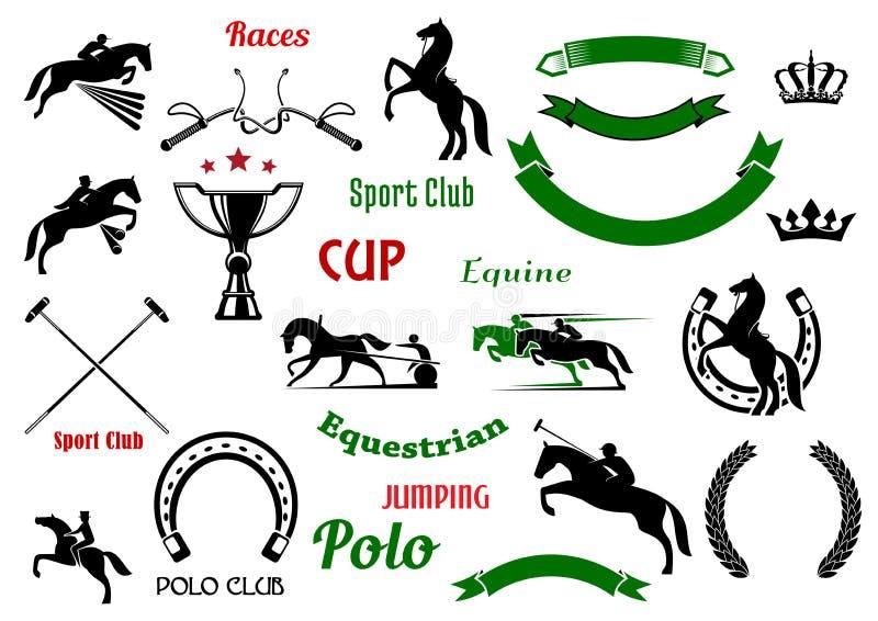 Ιππικά στοιχεία αθλητικού σχεδίου με τα άλογα διανυσματική απεικόνιση