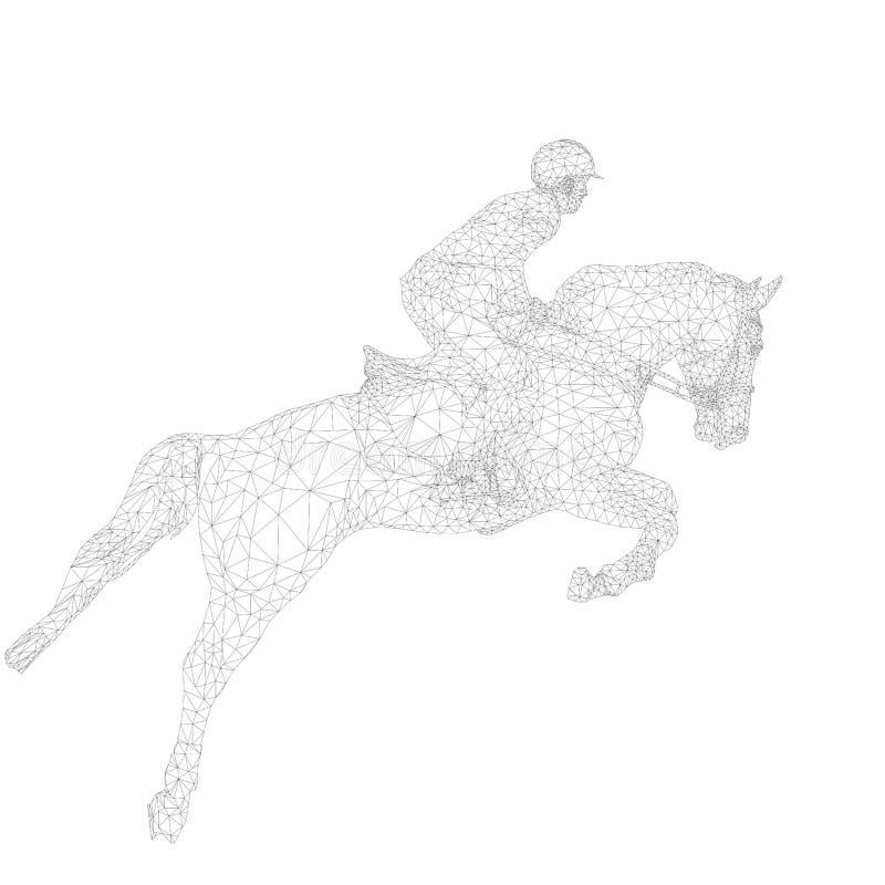 Ιππικός αθλητικός αναβάτης στο άλμα αλόγων διανυσματική απεικόνιση