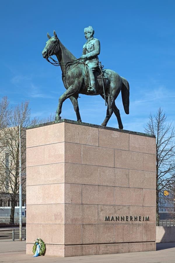 Ιππικό άγαλμα Marshal Mannerheim στο Ελσίνκι, Φινλανδία στοκ εικόνα