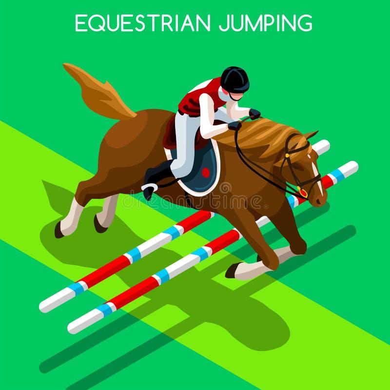 Ιππικό πηδώντας σύνολο εικονιδίων θερινών αγώνων τρισδιάστατο Isometric Jockey ελεύθερη απεικόνιση δικαιώματος