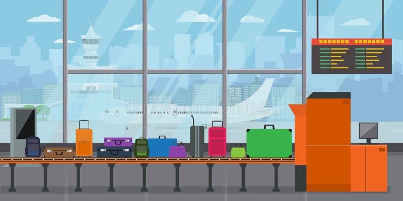 Ιπποδρόμιο αποσκευών στο τερματικό αερολιμένων με τις βαλίτσες και τις τσάντες στη ζώνη μεταφορέων πριν από την αναχώρηση Επίπεδο απεικόνιση αποθεμάτων