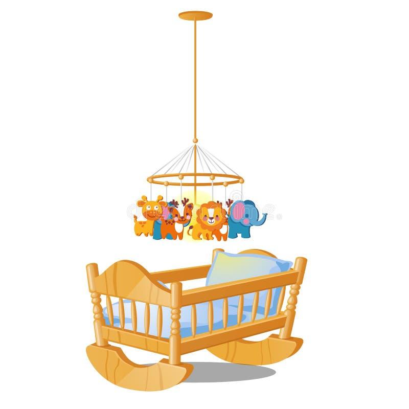 Ιπποδρόμιο μωρών με την ένωση των παιχνιδιών πέρα από την ξύλινη κούνια που απομονώνεται στο άσπρο υπόβαθρο Διανυσματική απεικόνι διανυσματική απεικόνιση