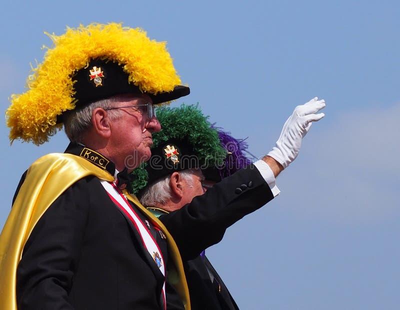 Ιππότες του Columbus στην παρέλαση Κ-ημερών στοκ εικόνες