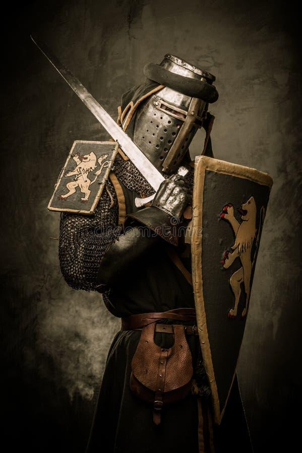 Ιππότης με το ξίφος και την ασπίδα στοκ εικόνα