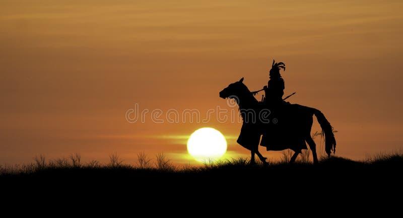 Ιππότης στο ηλιοβασίλεμα στοκ εικόνες