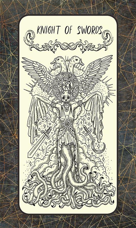 Ιππότης των ξιφών Η μαγική κάρτα πυλών tarot ελεύθερη απεικόνιση δικαιώματος
