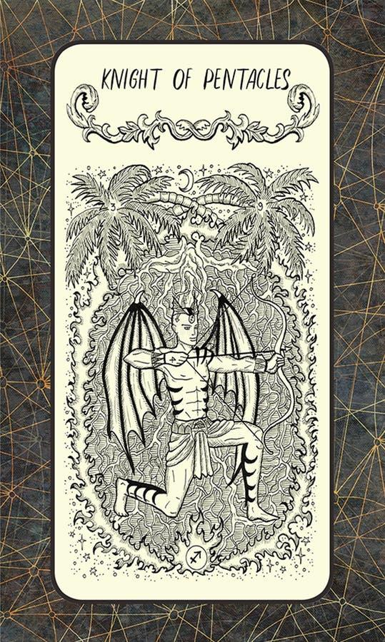 Ιππότης των πενταλφών Δευτερεύουσα κάρτα Arcana Tarot διανυσματική απεικόνιση