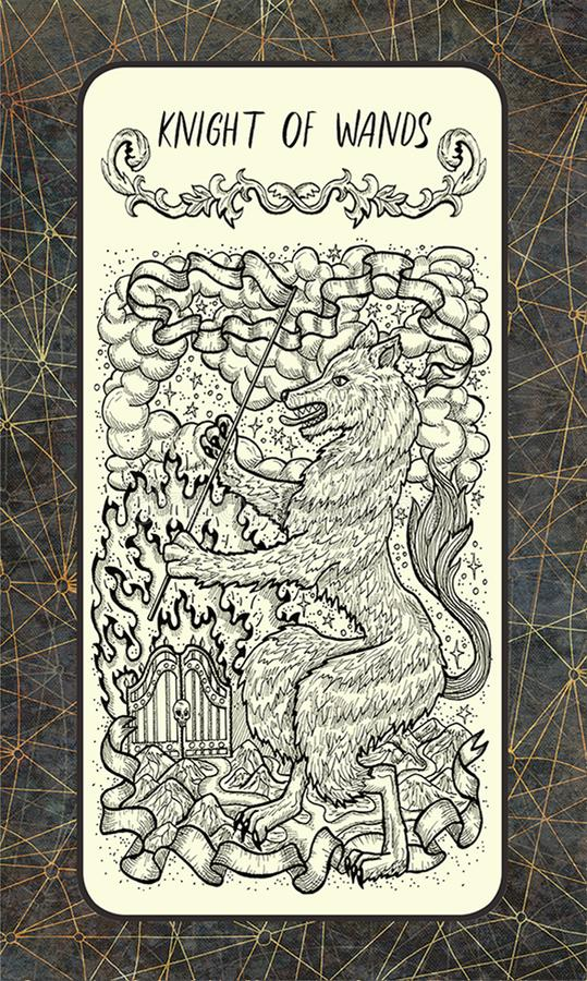 Ιππότης των ράβδων Η μαγική κάρτα πυλών tarot διανυσματική απεικόνιση