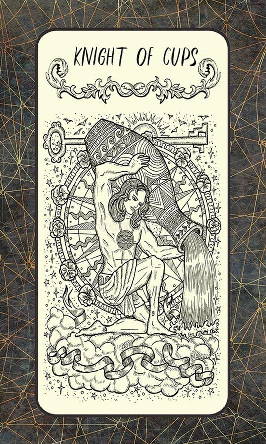 Ιππότης των φλυτζανιών Δευτερεύουσα κάρτα Arcana Tarot ελεύθερη απεικόνιση δικαιώματος